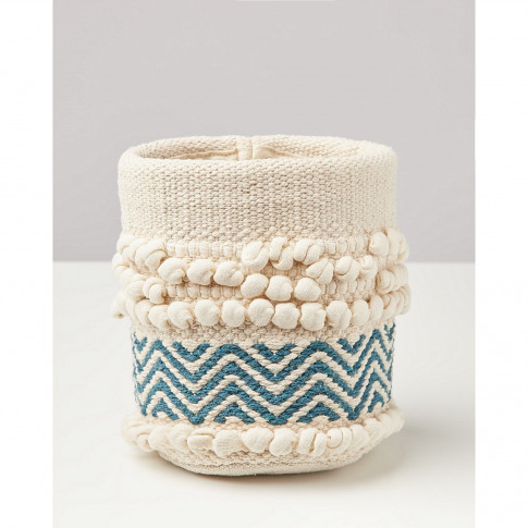 Korzina Teal Blue Woven Plant Pot Cover Small