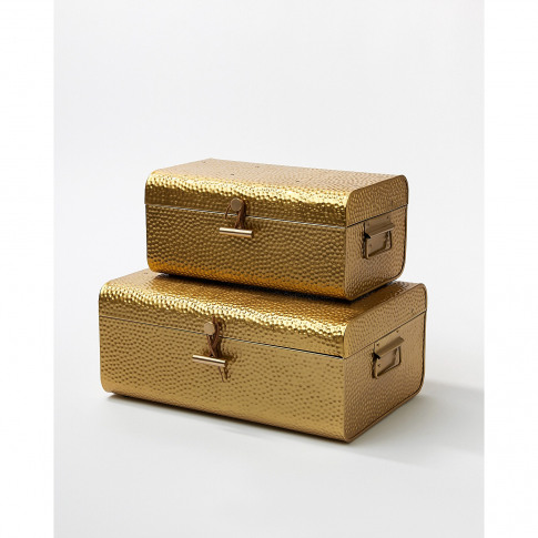 Hammered Gold Metal Storage Trunks Set Of Two