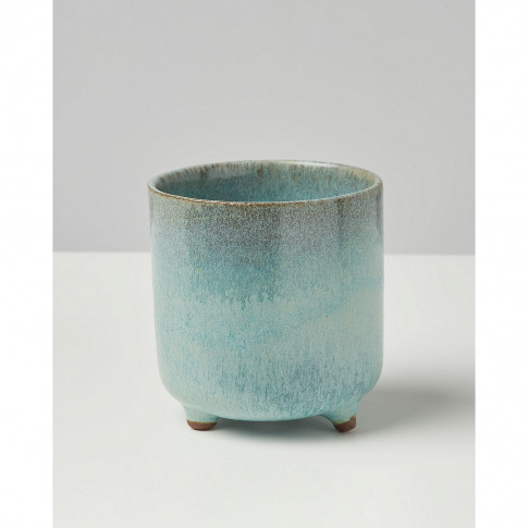 Agave Light Blue Terracotta Footed Plant Pot Extra S...
