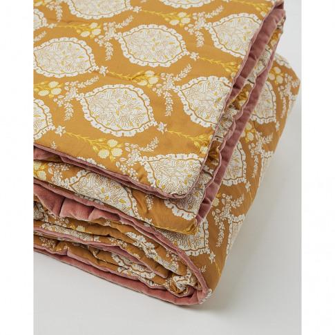 Paisley Pink & Yellow Velvet Double Bedspread