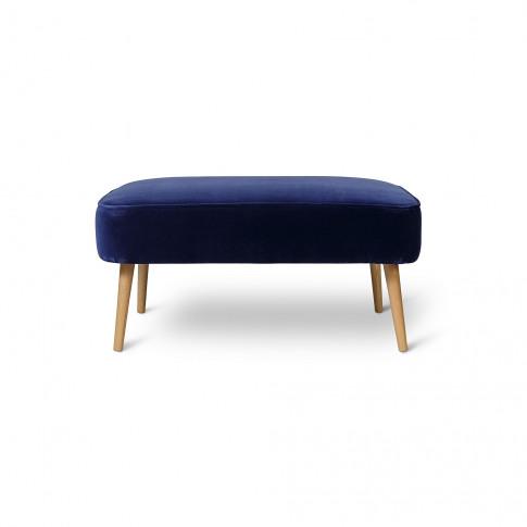 Le Cocktail Velvet Indigo Blue Footstool