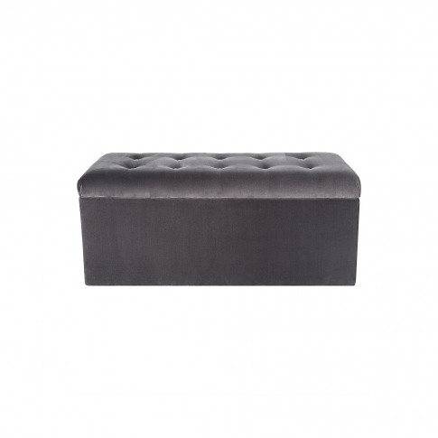 Velvet Dusk Grey Storage Ottoman