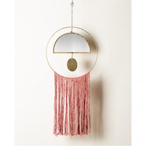 Semi Circle Mirror Gold Metal & Pink Cotton Wall Han...