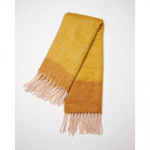 Mostaza Mustard Yellow & Pink Brushed Wool Throw